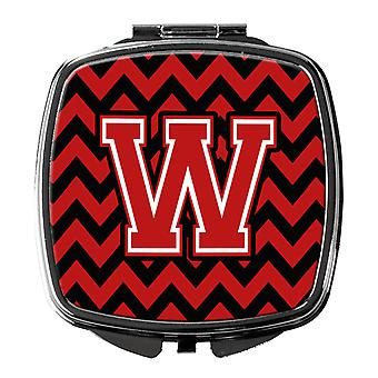 Carolines Treasures  CJ1047-WSCM Letter W Chevron Black and Red   Compact Mirror