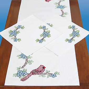 Stamped Dresser Scarf & Doilies Perle Edge-Cardinals 448 712