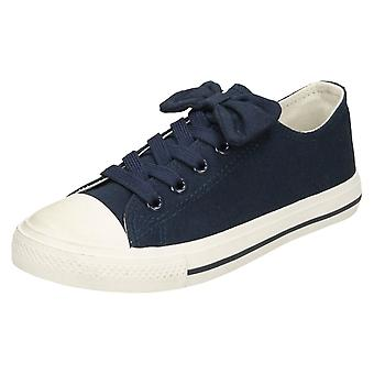 Girls Spot On Flat Lace Up Pumps - Navy Canvas - UK Size 13 - EU Size 32 - US Size 1