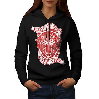 Wild Side Tiger Slogan Women BlackHoodie | Wellcoda