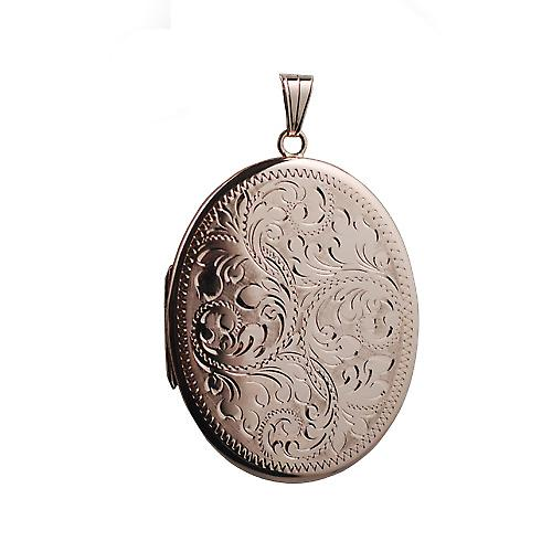 9ct Rose Gold 45x36mm hand engraved flat oval Locket