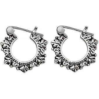Beginnings Leaf Detail Hinged Hoop Earrings - Silver/Black
