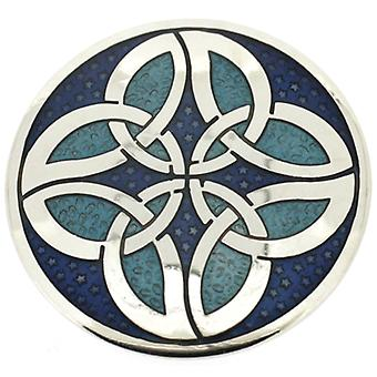 Brooches Store Round Blue Enamel & Silver Celtic Knots Circles Brooch