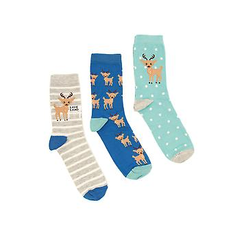Three Pack - Darcy Deer Socks in Blue