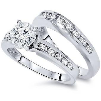 1 1/2ct Channel Set Diamond Engagement Ring Set 14K White Gold