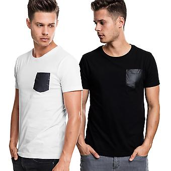 Urban classics - SLUB T-shirt with leatherette Pocket