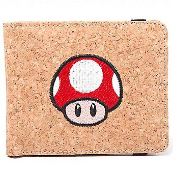 Nintendo Wallet Super Mario Mushroom Cork effect Official Brown Bifold