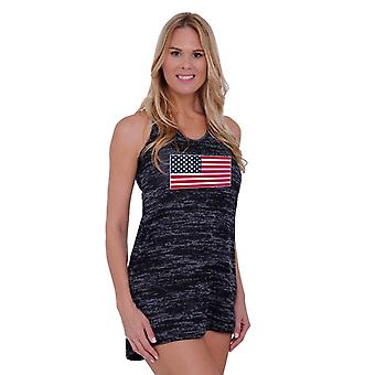 Frauen USA Flagge Burnout Kleid Bademode Vertuschung