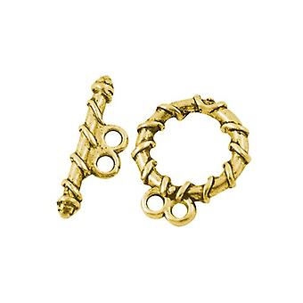 Packet 10 x Antique Gold Tibetan Round & Toggle Clasps 18 x 20mm HA11430