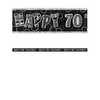 Bannière anniversaire Glitz noir & Silver 70e anniversaire prisme