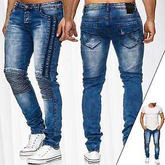 Mens Biker Jeans Pants 5-Pocket Slim Fit Trousers Stone Washed Bleached Stretch