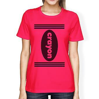 Crayon Womens Hot Pink Graphic T-Shirt Round Neck Halloween Shirt