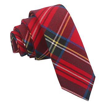 Red Royal Stewart Tartan Skinny Tie