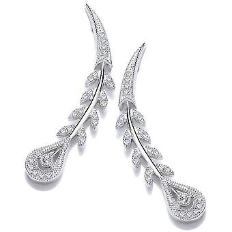 Cavendish French Victorian Style Peacock Feather Earrings - Silver