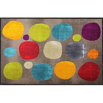 Salon løve dørmåtte af brudt prikker farverige 115 x 175 cm vaskbare snavs mat cirkler