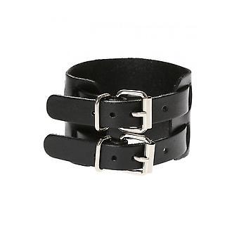 Attitude Clothing 2 Strap Faux Leather Wristband