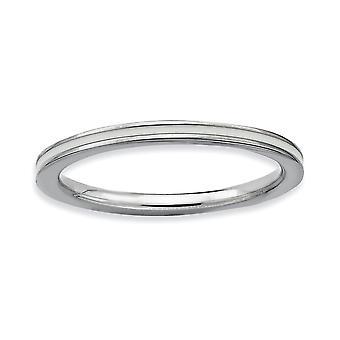 Plata pulida expresiones apilable rodio blanco esmaltado anillo de 1,5 mm - tamaño del anillo: 5 a 10