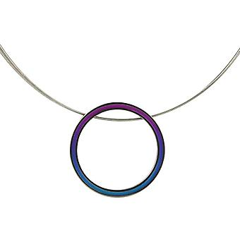 Ti2 Titanium Retro Large Pendant and Wire Cable Necklace - Purple/Blue