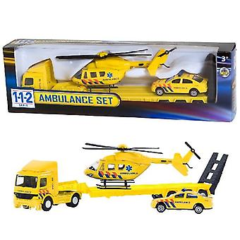 112 Rettungsdienst Set LKW + Auto + Hubschrauber