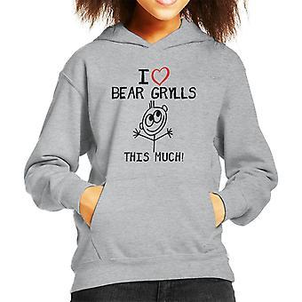 I Love Bear Grylls This Much Kid's Hooded Sweatshirt