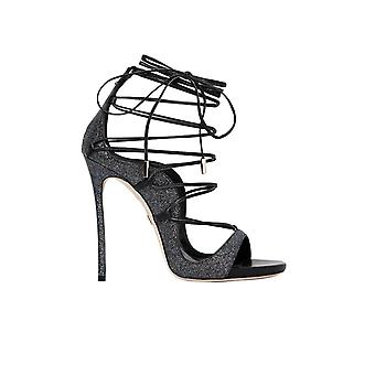 DSQUARED2 RIRI BLACK GLITTER HEELED SANDAL