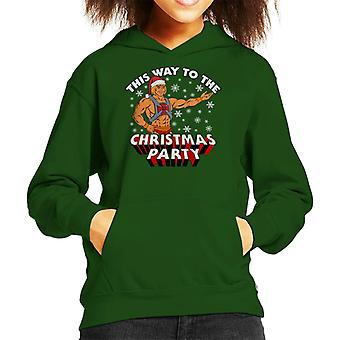He Man This Way To The Christmas Party Kid's Hooded Sweatshirt