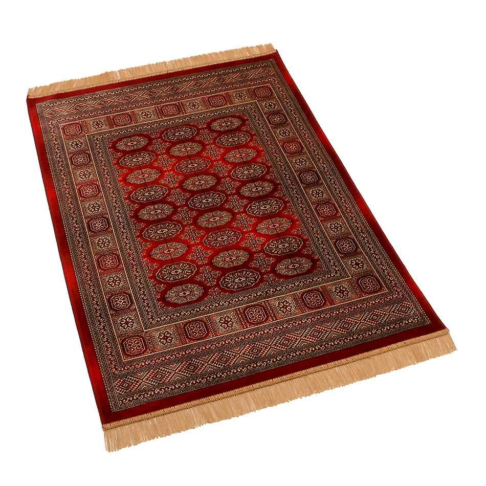 Traditional Red Persian Bokhara Artificial Faux Silk Effect Rugs 8438/12 100 x 140cm