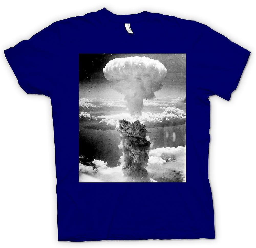 Mens t-shirt-nucleare del fungo atomico e bianco