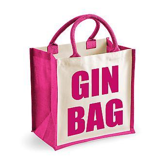 Medium Pink Jute Bag Gin Bag