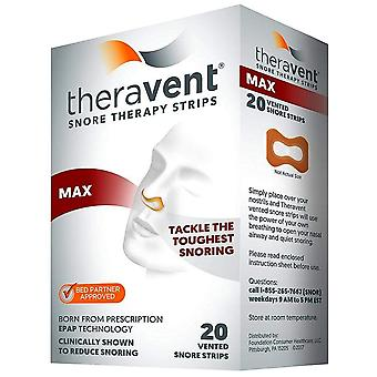 Theravent snore therapy strips, max, 20 ea