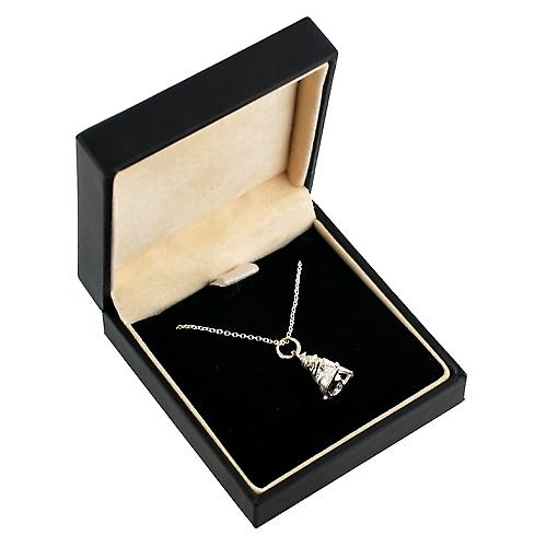 Silver 16x9mm solid Rabbit with Carrot Pendant on rolo Chain 14 inches Only Suitable for Children