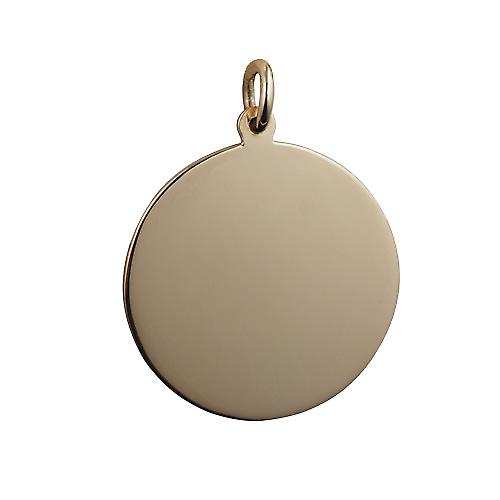 9ct Gold 26mm plain round Disc