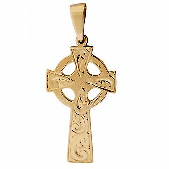 9ct Gold 45x20mm hand engraved Celtic Cross with bail