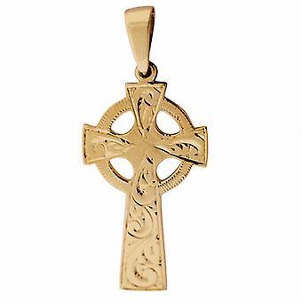 Oro 9ct croce celtica incisa a mano 45x20mm con cauzione