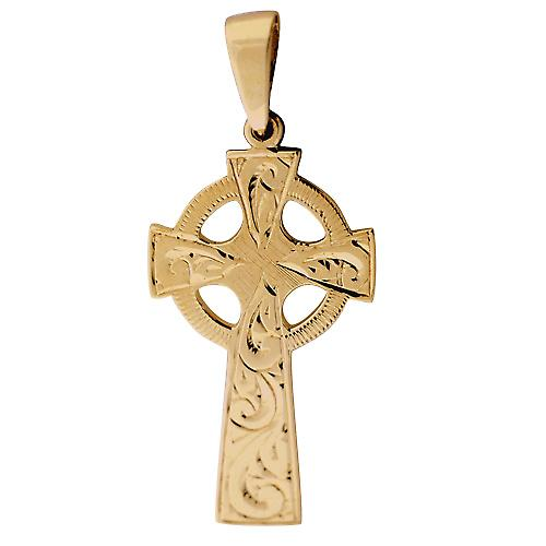 9ct Gold 35x20mm hand engraved Celtic Cross