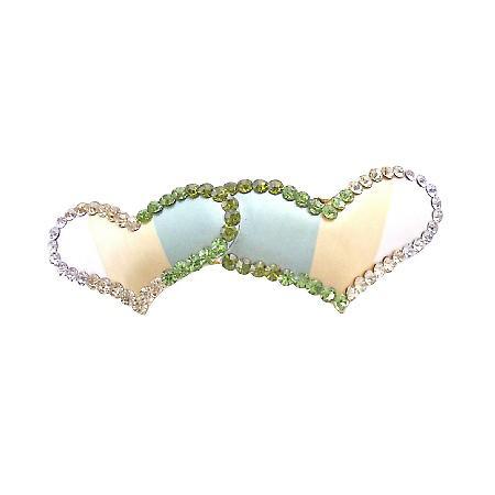 Valentine Gift w/ Heart Hair Barrette Peridot Clear & Olivine Crystals