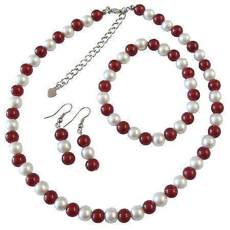 Coral Round Beads Simulated White Pearls Necklace Stretchable Bracelet