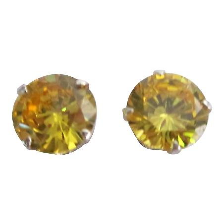 Beautiful Cute Citrine Stud Earrings 8mm Citrine CZ Stud Earrings