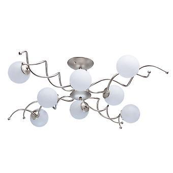 Glasberg - Pearl guld åtta ljus semi Flush med vitt glas 306012808