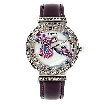Bertha Emily Mother-Of-Pearl Leather-Band Watch - Silver/Purple