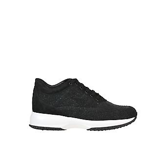 Hogan Interactive Glittered Black Suede Sneakers