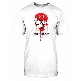 9-11 Conspiracy - Bleeding Skull Mens T Shirt