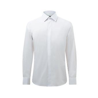 Dobell Mens White Smoking Kleid Hemd Regular Fit Standard Kragen doppelt Manschette Plain Fly vorne