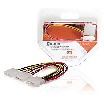 2 Pack, câble d'alimentation interne Molex mâle-2x Molex femelle 0,15 m