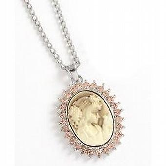 TOC Light Brown Glass Set Cameo Pendant Necklace 18