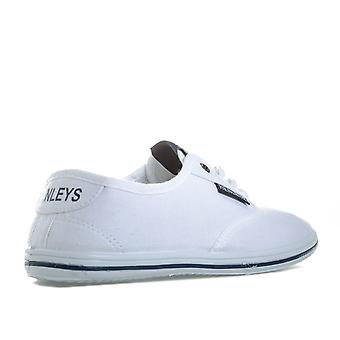 Children Boys Henleys Bevan Pumps In White- Lace Fastening- Cushioned Insole-