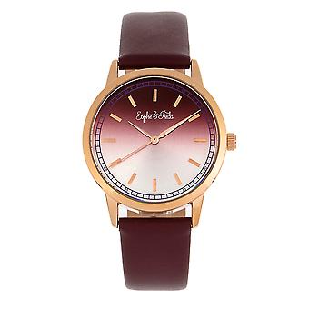 Sophie and Freda San Diego Leather-Band Watch - Maroon