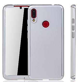 Xiaomi Redmi Nota 7 Funda de protección de la funda del teléfono cubierta completa del vidrio de la protección del tanque plata