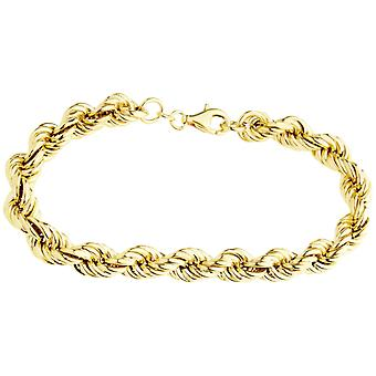Sterling 925 silver cord bracelet - HOLLOW ROPE 8mm gold