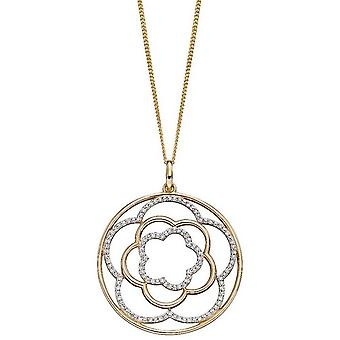 Elements Gold Flower Circle Pendant - Gold/Silver